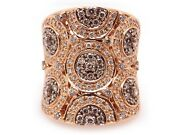 18k Rose Gold 2.14ct Round Fancy Brown White Diamond 24mm Wide Band Ring Size 9