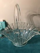 L.e.smith Glass Vertical Rib Crystal Clear Large12x13x8 Basket Reduced To Sell