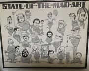 Mad Magazine State Of The Mad Art 1980andrsquos Framed 12andrdquo X 15andrdquo Vintage Poster Rare