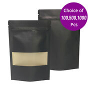 4x6in Matte Double Side Black Paper Stand Up Zip Lock Bag W/ Window And Machine