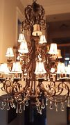 Beautiful X-large Traditional Bronze And Crystal Chandelier 3-tier 21 Lamps. Nr