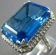 Extra Large 22.56ct Diamond And Aaa Blue Topaz 18kt White Gold 3d Emerald Cut Ring