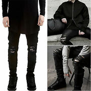 Menand039s Distressed Ripped Jeans Black Denim Pants Slim Skinny Fit Trousers Fashion