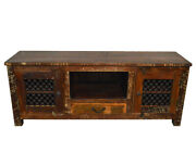 Reclaimed Wood Rustic Entertainment Center Plasma Cabinet With Iron Grill