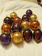 Kugel Style Christmas Heavy Crackled Glass Ornaments Lot Of 14