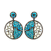 57x40mm Turquoise And Mother Of Pearl Diamond 925 Sterling Silver 14k Gold Earring