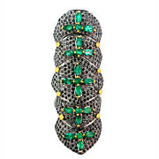 59x22 Mm Emerald Black Pave Diamond 925 Sterling Silver 14k Gold Knuckle Ring