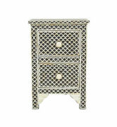 Handmade Antique Bone Inlay Black Fish Scale Bedside Table Nightstand Two Drawer