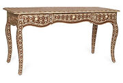 Handmade Mother Of Pearl Fish Scale Curved Leg Brown Console Table Desk