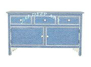 Handmade Bone Inlay Blue Fish Scale Solid Wood Commode Chest Of Drawer Dresser