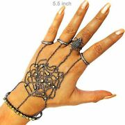 7.0ct Diamond Pave Sterling Silver Spider Web Hand Harness Bracelet Jewelry Cy