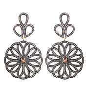 Sterling Silver 3.9ct Pave Diamond Dangle Floral Dangle Earrings Gold Jewelry Qy