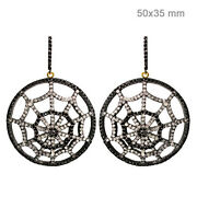 4.75ct Diamond Pave 925 Silver Spider Web Dangle Earrings 14k Gold Jewelry Oy
