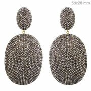 925 Sterling Silver 7.59ct Real Diamond Pave 14k Gold Dangle Earrings Jewelry Py