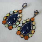 Studded Diamond Opal Garnet Sapphire Dangle Earrings 14k Gold 925 Silver Jewelry