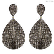 6.28ct Diamond Pave 14k Gold Dangle Earrings 925 Silver Vintage Style Jewelry Py