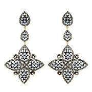New Moonstone14k Gold Diamond Pave 925 Sterling Silver Earrings Fashion Jewelry