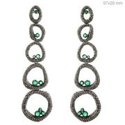 Pave Natural Diamond Emerald 14k Gold Dangle Earrings Sterling Silver Jewelry Py