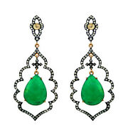 Emerald Pave Diamond Earrings Sterling Silver 14k Gold Motherand039s Day Gift Jewelry