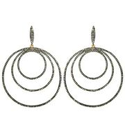 Motherand039s Gift Sterling Silver Diamond Pave Dangle Earrings 14k Gold Jewelry Qy