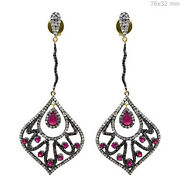 Pave Diamond Ruby Vintage Look Dangle Earrings 925 Silver 14k Gold Jewelry Qy