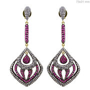 3.4ct Diamond Pave Ruby 14k Gold Antique Look Dangle Earrings Sterling Silver Py