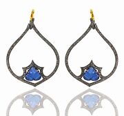 New Tanzanite Carved Dangle Earrings 14k Gold 925 Silver Pave Diamond Jewelry Oy