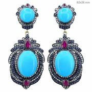 Diamond Pave 14k Gold Dangle Earrings Sterling Silver Gemstone Turquoise Jewelry