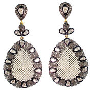 Pearl Beads Diamond Pave 14k Gold 925 Sterling Silver Dangle Earrings Jewelry Py