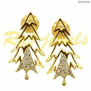 Christmas Tree Earrings Diamond Solid 18k Yellow Gold Vintage Style Jewelry Ac