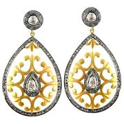 14k Gold Dangle Earrings 925 Silver Pave 2.74ct Diamond Vintage Style Jewelry Oy