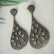 6.26 Ct Pave Diamond Dangle Earrings 14 K Gold Moonstone Sterling Silver Jewelry