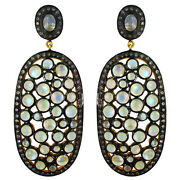 Moonstone 925 Sterling Silver Dangle Earrings Pave Diamond Antique Style Jewelry