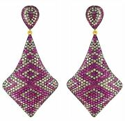 Pave Diamond Ruby Sterling Silver Dangle Earrings 14k Gold Vintage Style Jewelry
