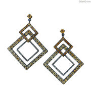 Pave Diamond Citrine Dangle Earrings Sterling Silver Vintage Style Jewelry Gifts