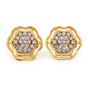 Pave Natural Diamond 14k Yellow Solid Gold Stud Earrings Fine Handmade Jewelry