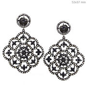 6.2ct Diamond Pave Sterling Silver Dangle Earrings 14k Gold Antique Look Jewelry