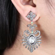 Pave Rose Cut Natural Diamond Dangle Earrings 925 Silver Antique Style Jewelry