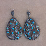 Natural Diamond Turquoise Drop Dangle Earrings Sterling Silver Vintage Jewelry