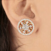 Real 2.11ct Diamond Pave Stud Earrings 14k Yellow Solid Gold Fine Women Jewelry