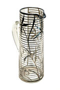 American Silver Overlay Glass Pitcher, Circa 1920. Leaf And Stripe Designs