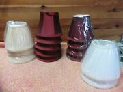 14 Lamp Shades Small 4 Height White Tan Red Silk Lace Doll House Clip On Bulb
