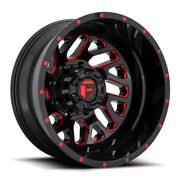 Fuel Triton D656 Rear Dually Wheel Gloss Red Milled 20x8.25 8x200 -201mm -3.17