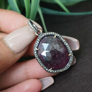 Gemstone Ruby 14k Gold Pave Diamond Pendant Antique Look Sterling Silver Jewelry