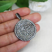 Natural 3.42 Ct Pave Diamond Disc Pendant 925 Sterling Silver Handmade Jewelry