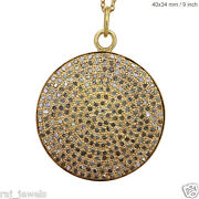 Solid 14 K Yellow Gold Pave Diamond Disc Round Pendant Necklace Designer Jewelry