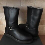 Ugg Classic Berge Short Waterproof Black Leather Shearling Boots Size Us 7 Women