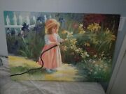 Pretty Girl Watering Flowers Oil Painting On Canvas By W. Redman Unframed