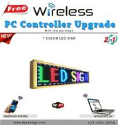 Led Sign Programmable Scrolling Message - 7 Colors - 15and039and039 X 40and039and039 Wireless