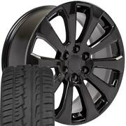 22 Black 5922 Wheels And 285/45r22 Tires Set Fit Tahoe Silverado High Country
